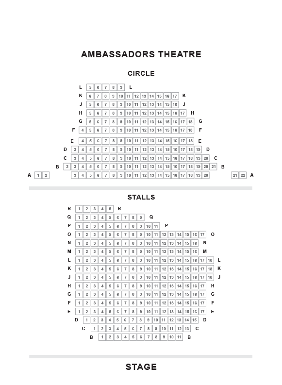Ambassadors Theatre. Seating Plan