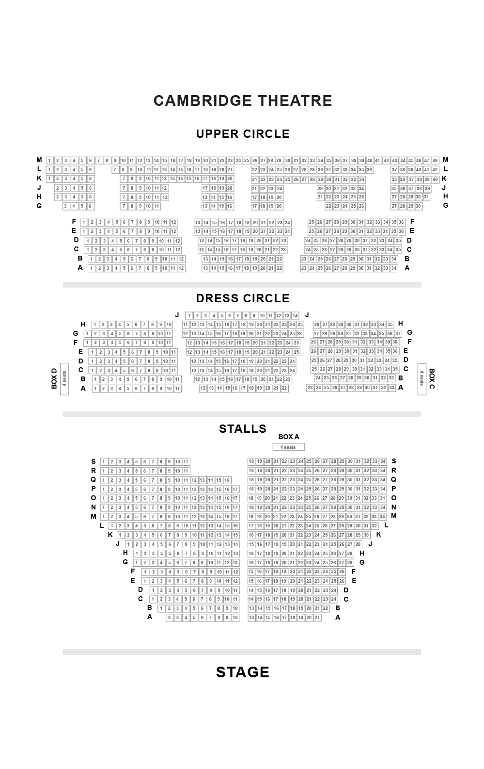 Cambridge Theatre Seating Plan