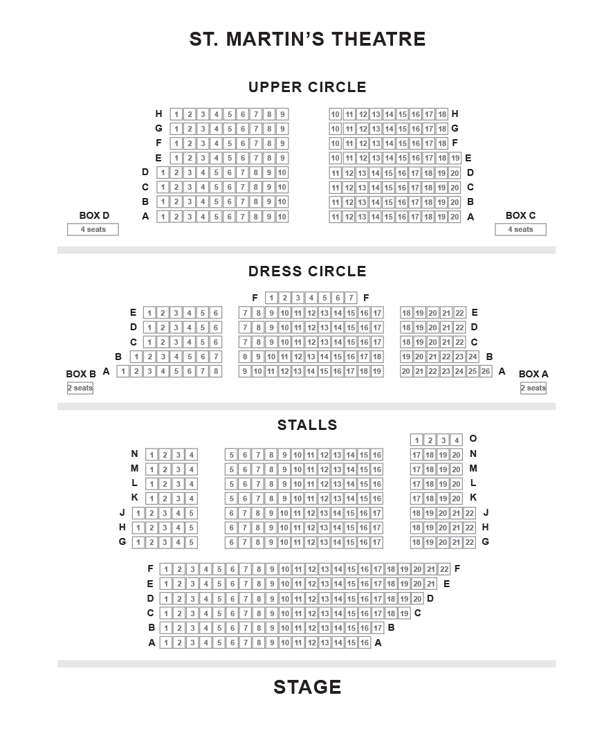 St. Martin's Theatre Seating Plan