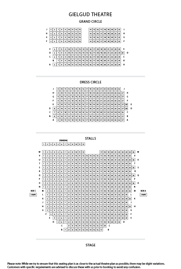 Gielgud Theatre Seating Plan
