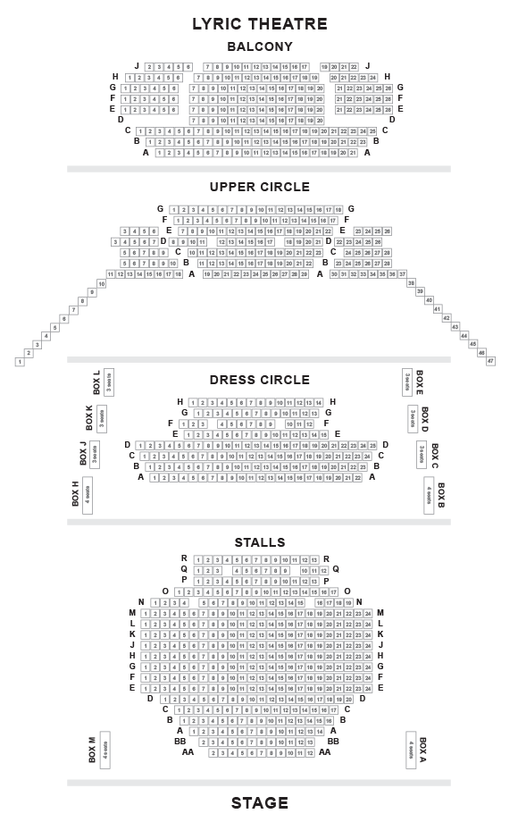 Lyric Theatre Seating Plan