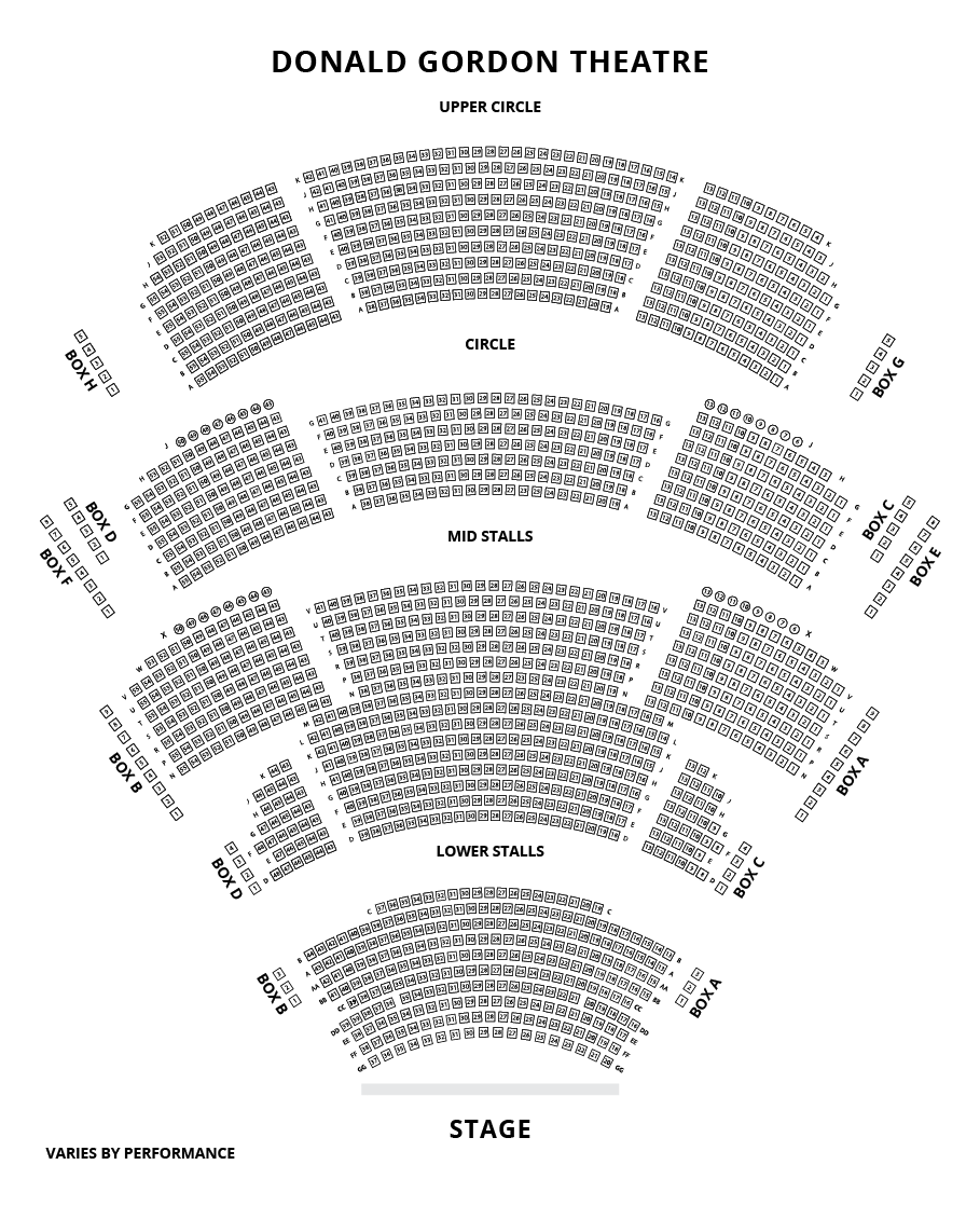 Donald Gordon Theatre, Cardiff Seating Plan