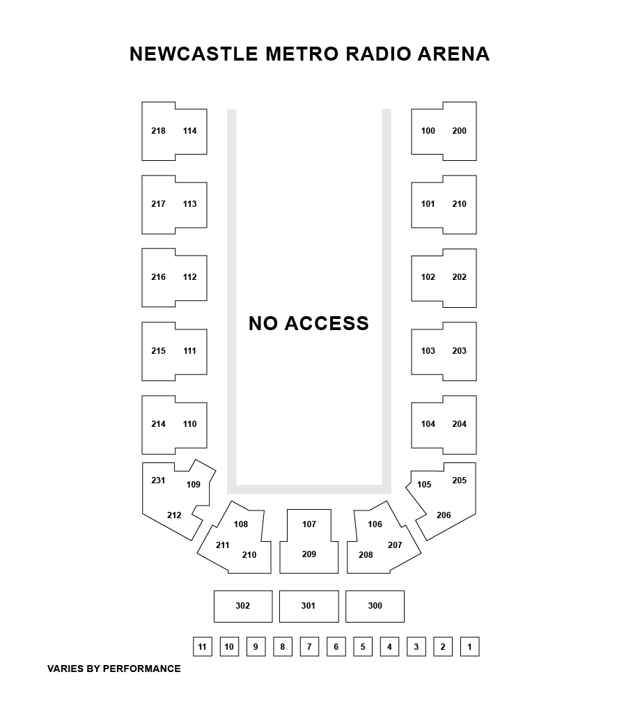 Utilita Arena Newcastle Seating Plan