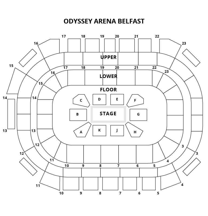 Odyssey Arena, Belfast Seating Plan