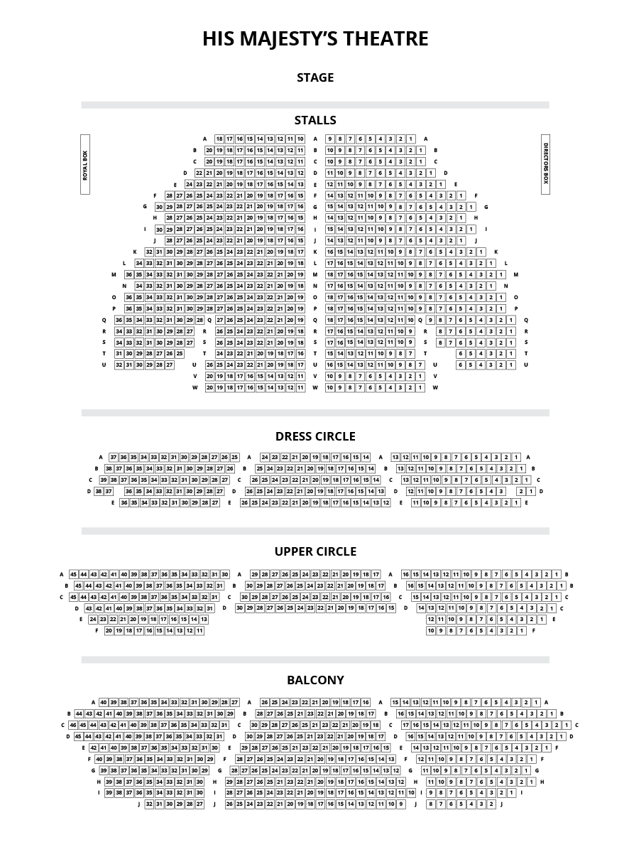 His Majesty's Theatre, Aberdeen Seating Plan