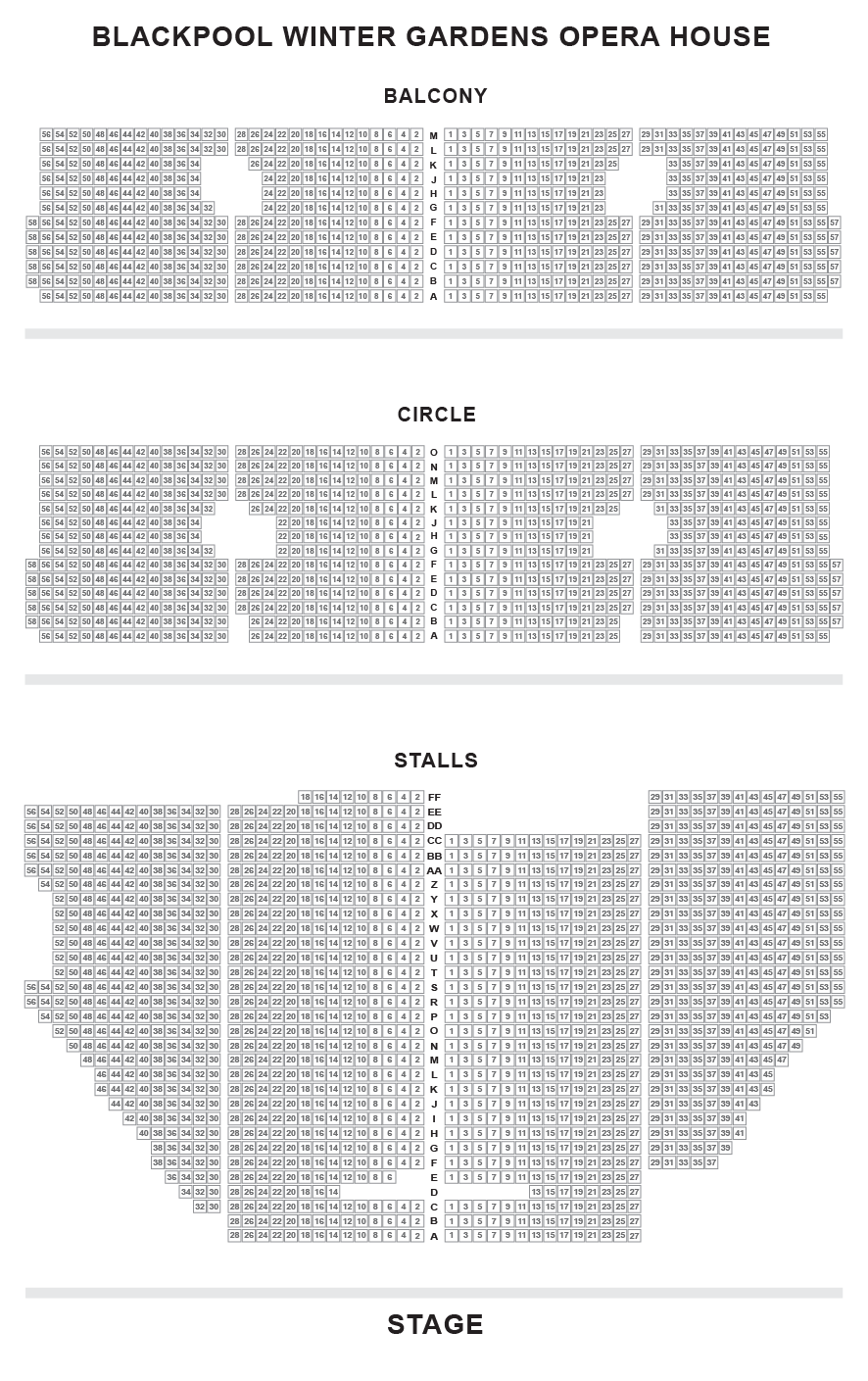 Blackpool Opera House Seating Plan
