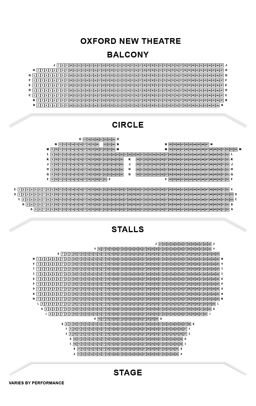 Oxford New Theatre Seating Plan