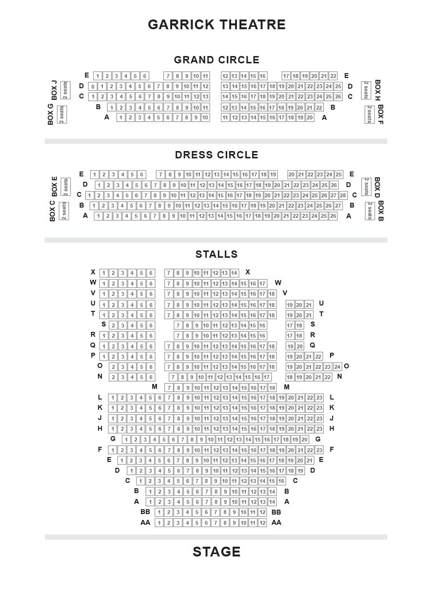 Garrick Theatre (Branagh Theatre) Seating Plan